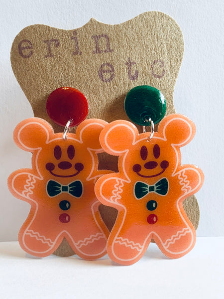 Handmade Dangle Earrings - Gingerbread Mickey