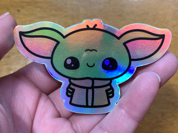 Holographic Baby Yoda sticker