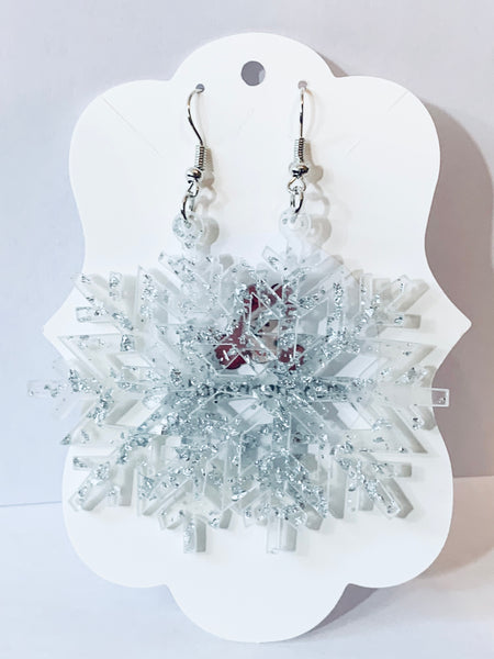 Acrylic Christmas Earrings - Glitter Snowflakes