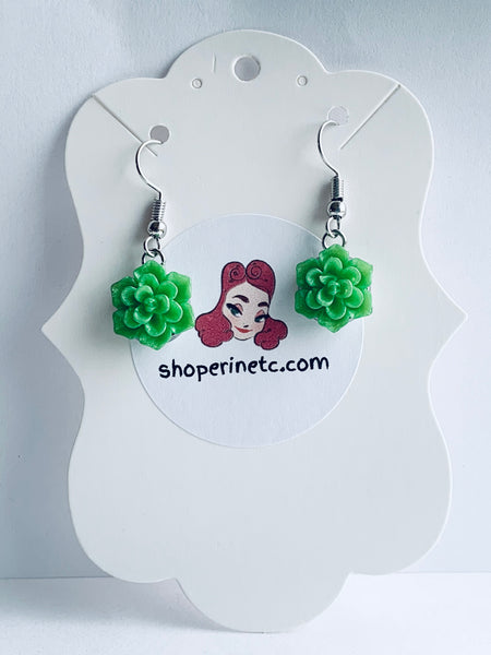 Handmade Resin Earrings - Bright Green Succulent Dangles