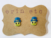 Handmade Plastic Earrings - Jiminy Cricket