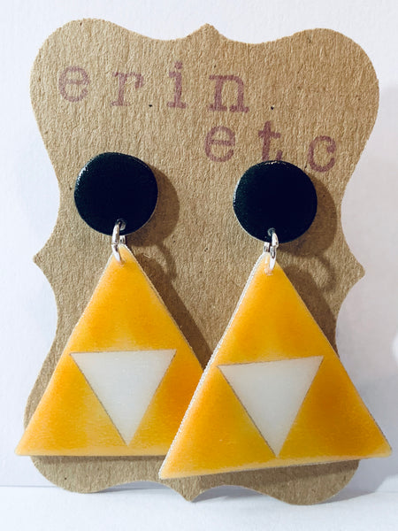 Handmade Plastic Earrings - Retro Triforce Dangles