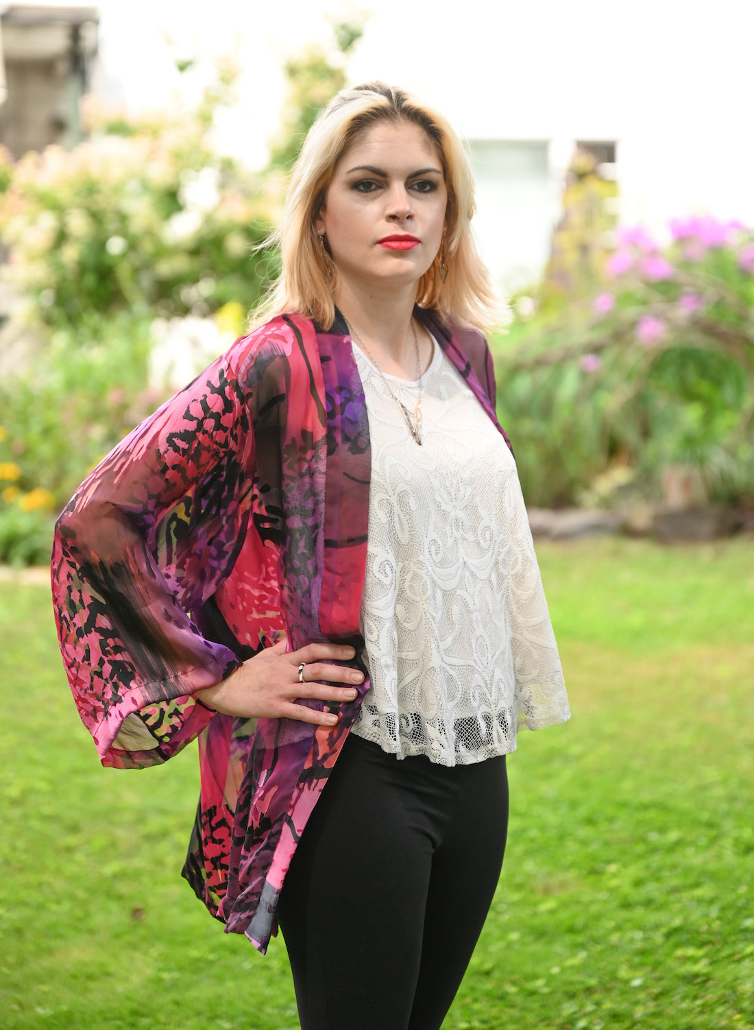 Long Silk Jacket in Pink and Black Seaweed - Heart of the Home PA