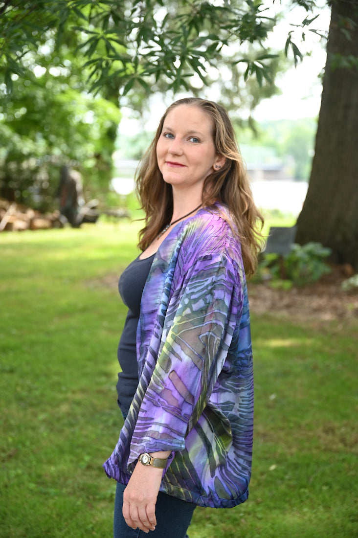 Long Silk Jacket in Dark Purple Devore - Heart of the Home PA