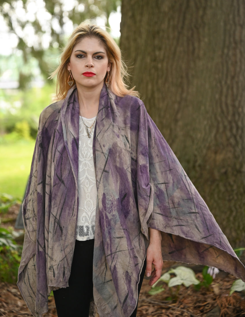 Organic Cotton Shawl Purple - Heart of the Home PA
