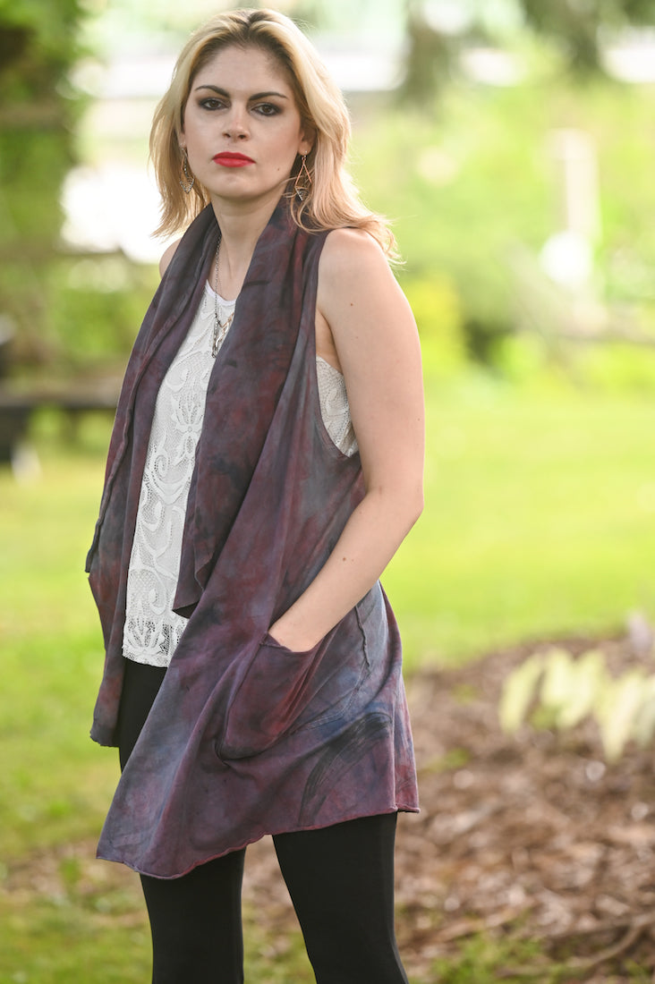Organic Cotton Waterfall Vest Purple - Heart of the Home PA