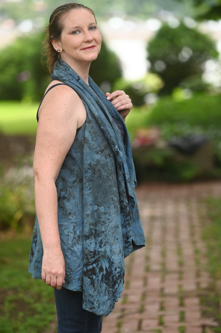 Organic Cotton Waterfall Vest Indigo - Heart of the Home PA