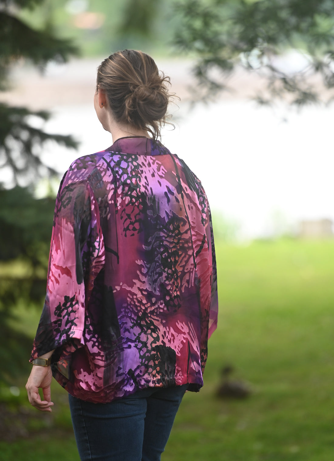 Short Silk Jacket in Pink and Black Seaweed