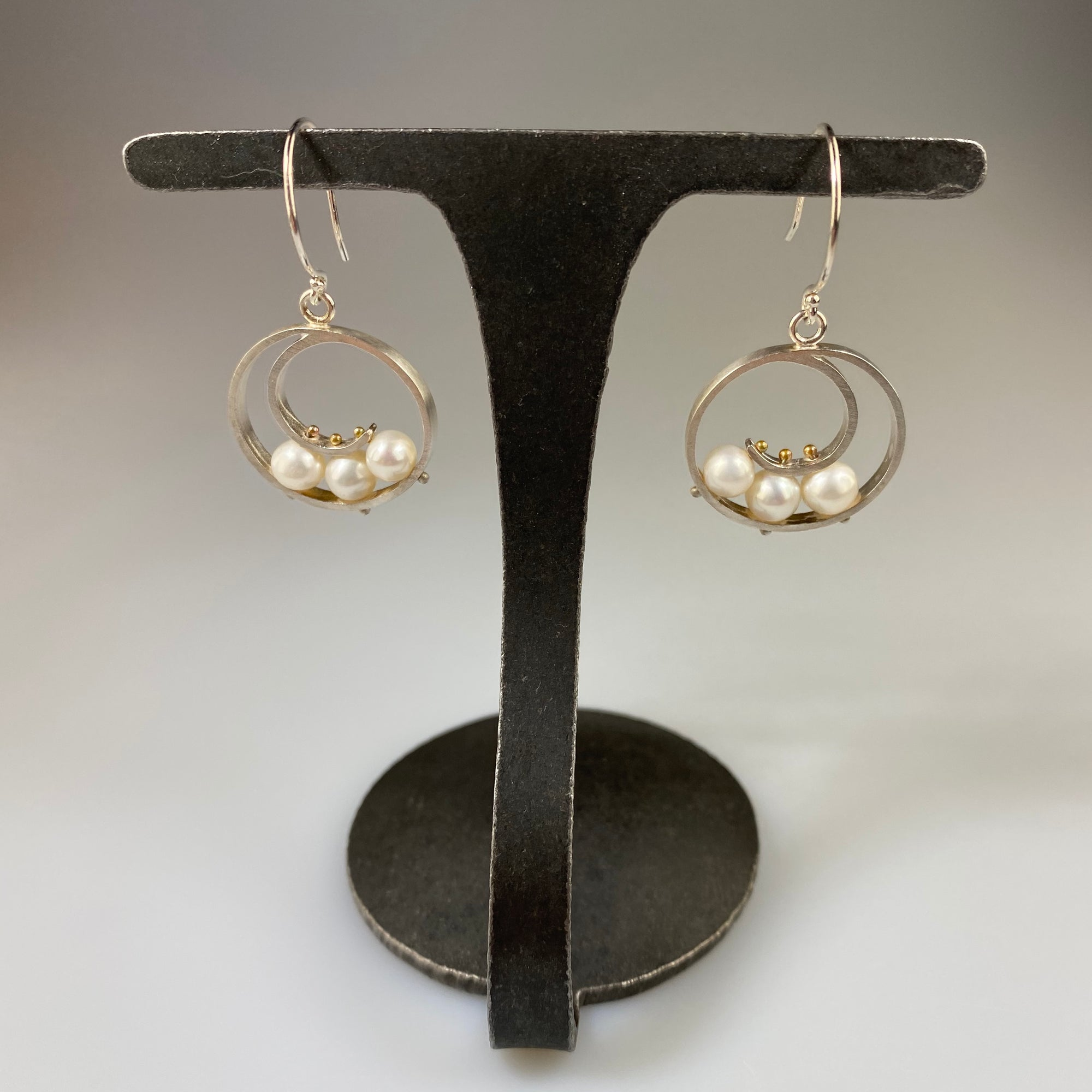 Medium Spiral Earrings with White Pearl - Heart of the Home PA