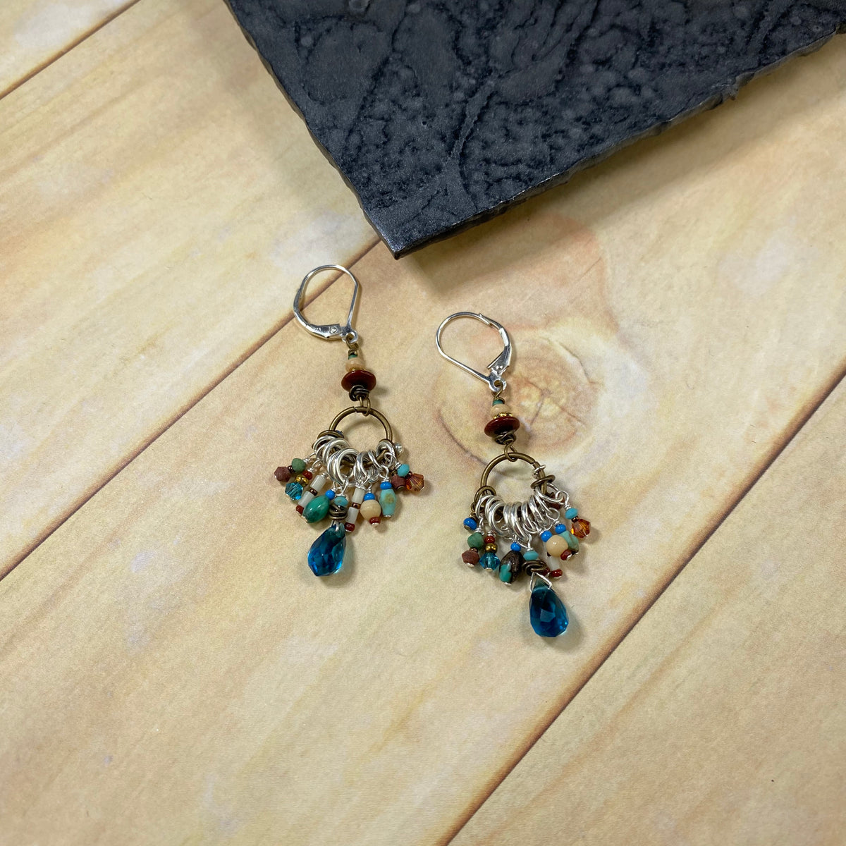 Blue and Earthtone Tassel Earrings - Heart of the Home PA