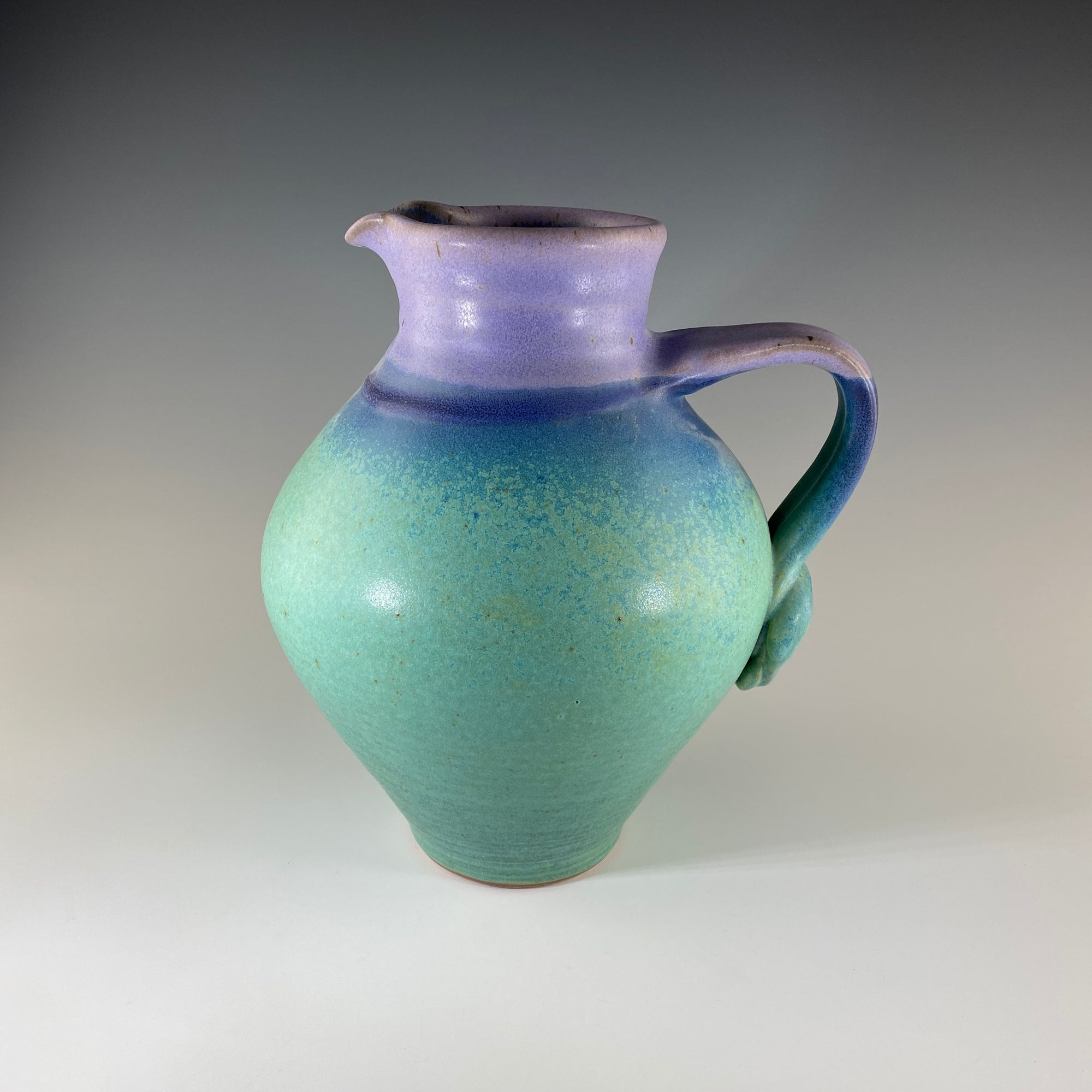 Large Round Pitcher in Turquoise & Lavender - Heart of the Home PA