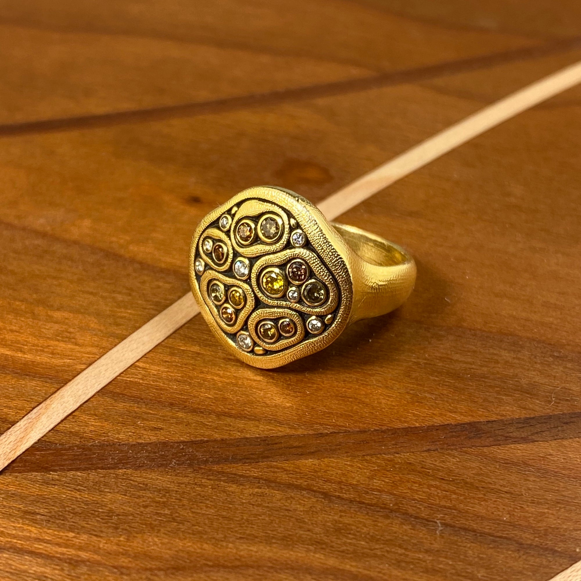 Swirling Water Ring in Gold with Natural Color Diamonds - Heart of the Home PA