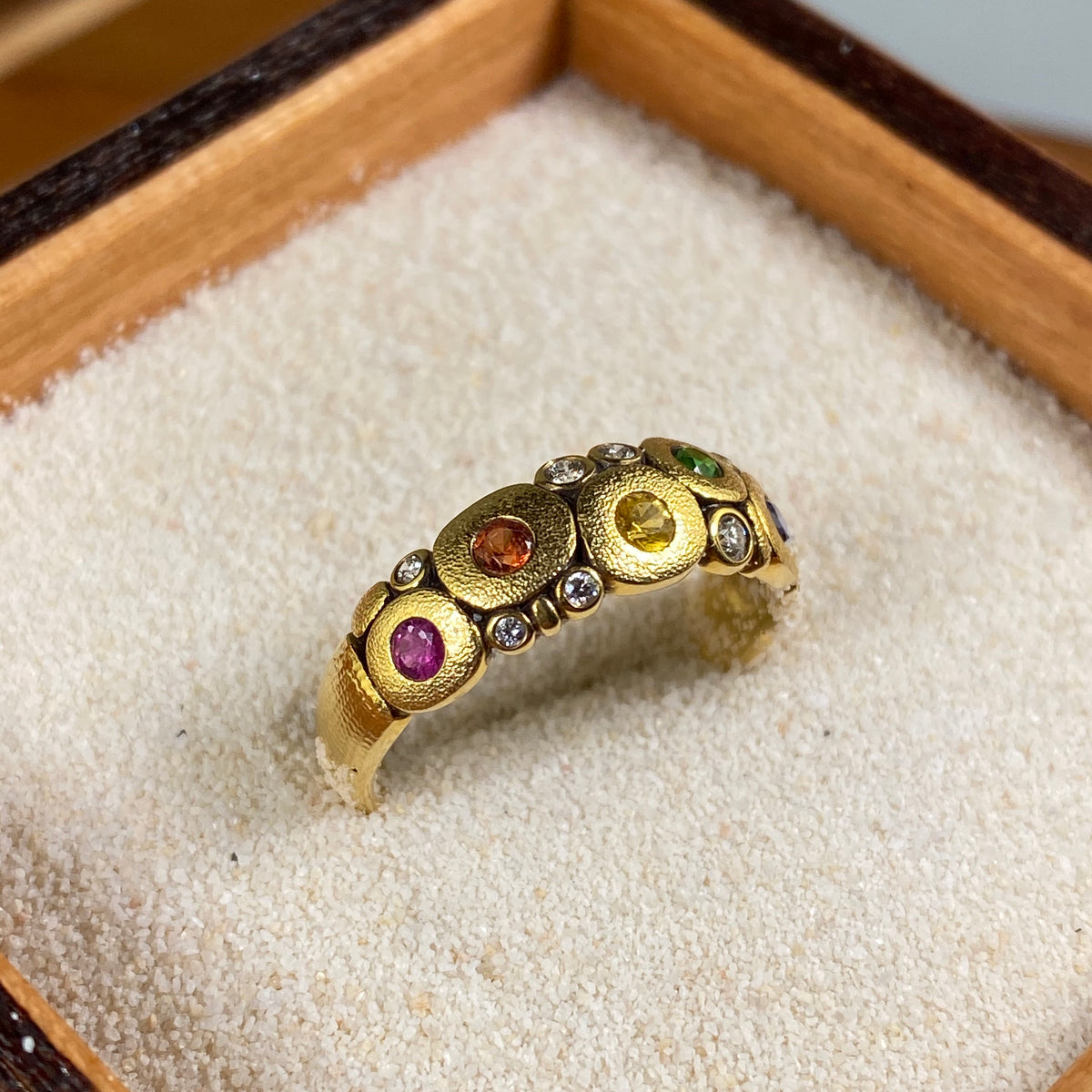 Candy Ring in Gold with Rainbow Sapphires - Heart of the Home PA
