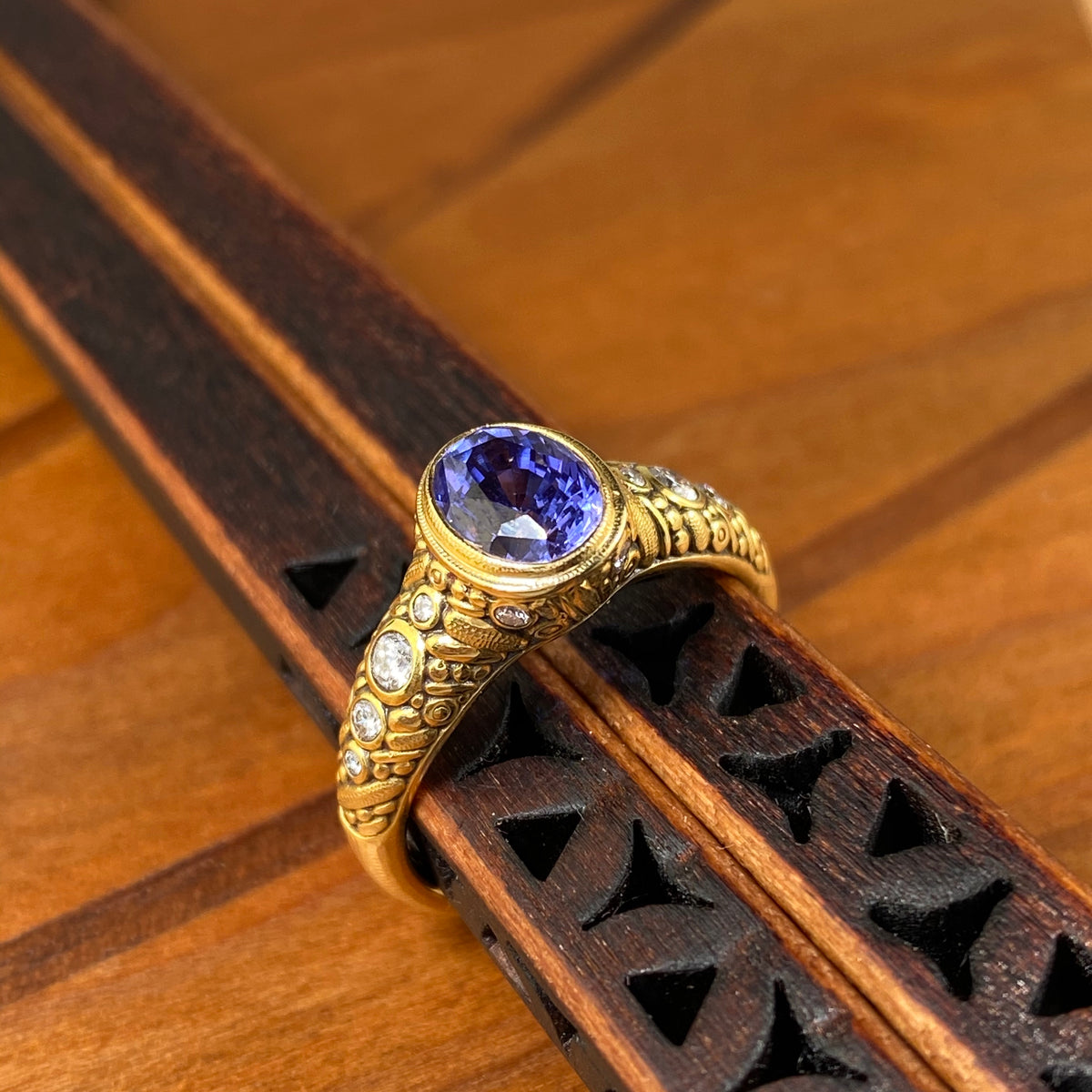 Oval Ring in Gold with Purple Sapphire - Heart of the Home PA