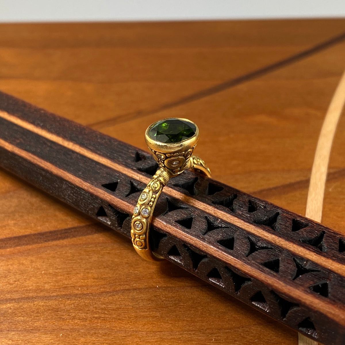 Martini Ring in Gold with Green Tourmaline - Heart of the Home PA