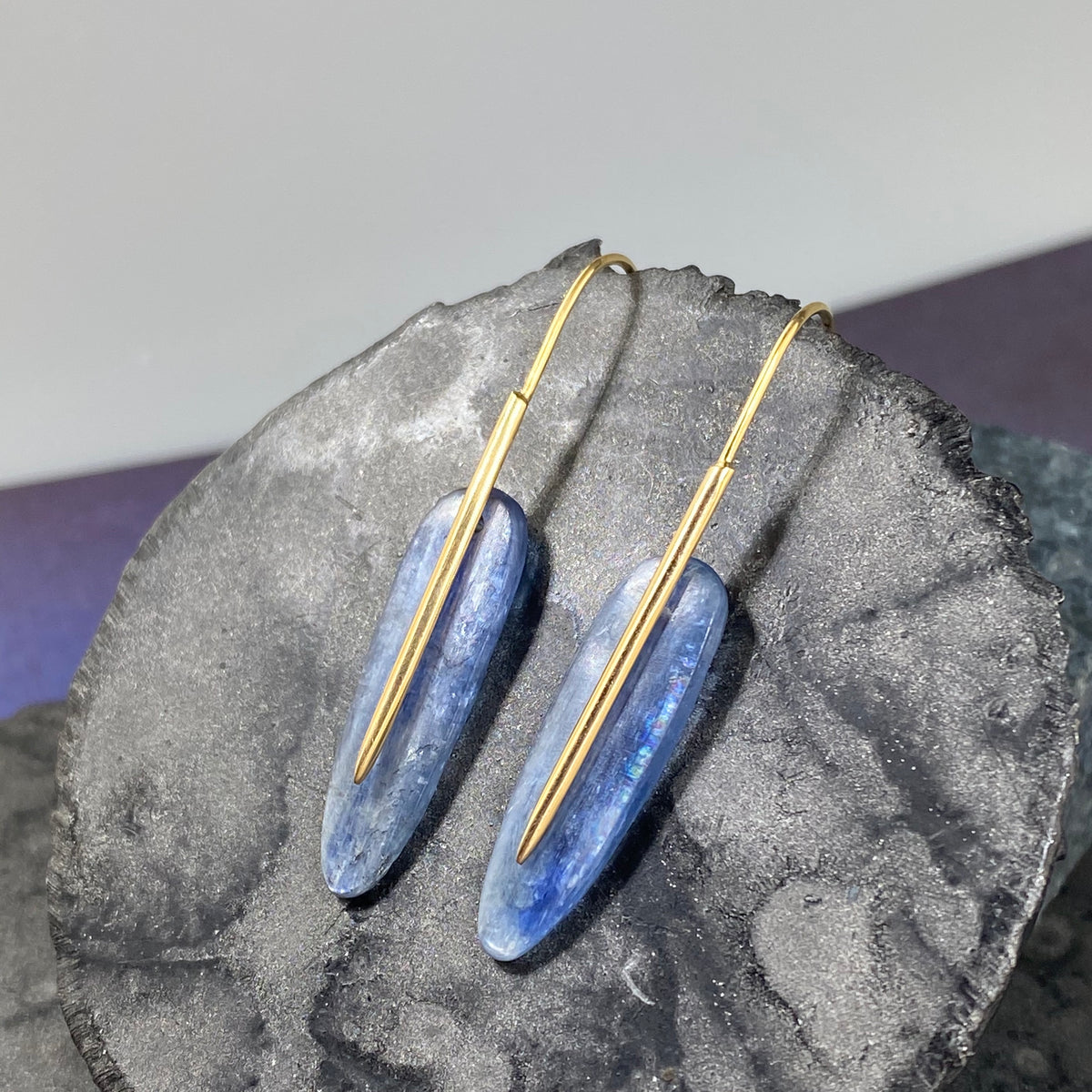 Kyanite Small Feather Earrings - Heart of the Home PA