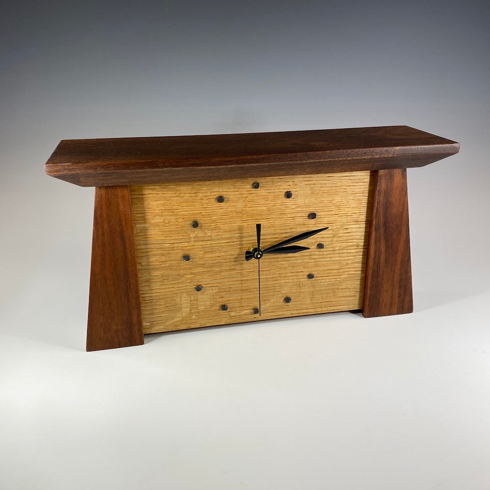 Prairie Mantle Clock in Walnut and Oak - Heart of the Home PA