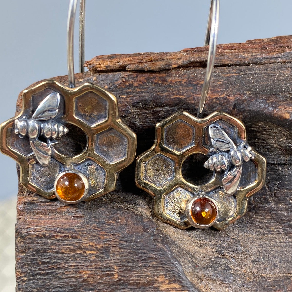 Honeycomb Flower Earrings in Bronze - Heart of the Home PA