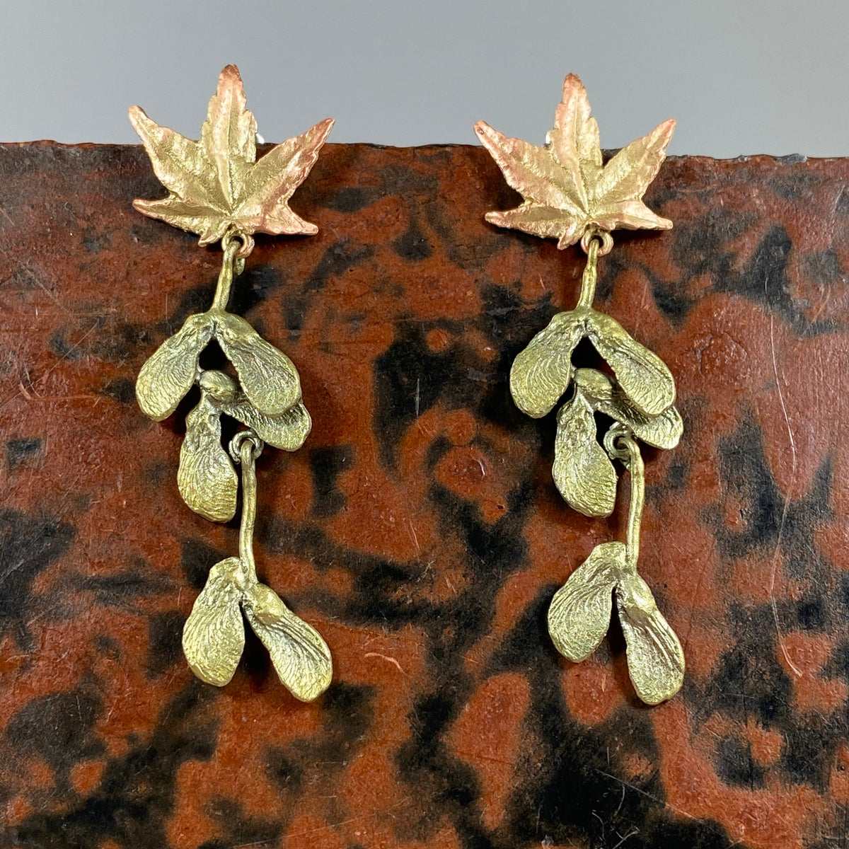 Japanese Maple Drop Post Earrings - Heart of the Home PA