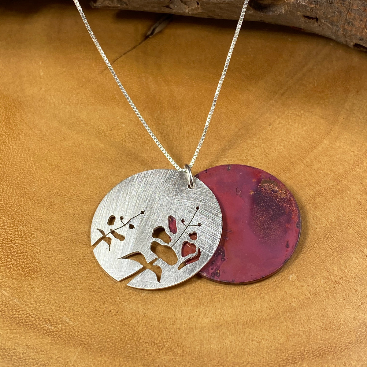 Fireweed Mixed Metals Pendant - Flame Red - Heart of the Home PA