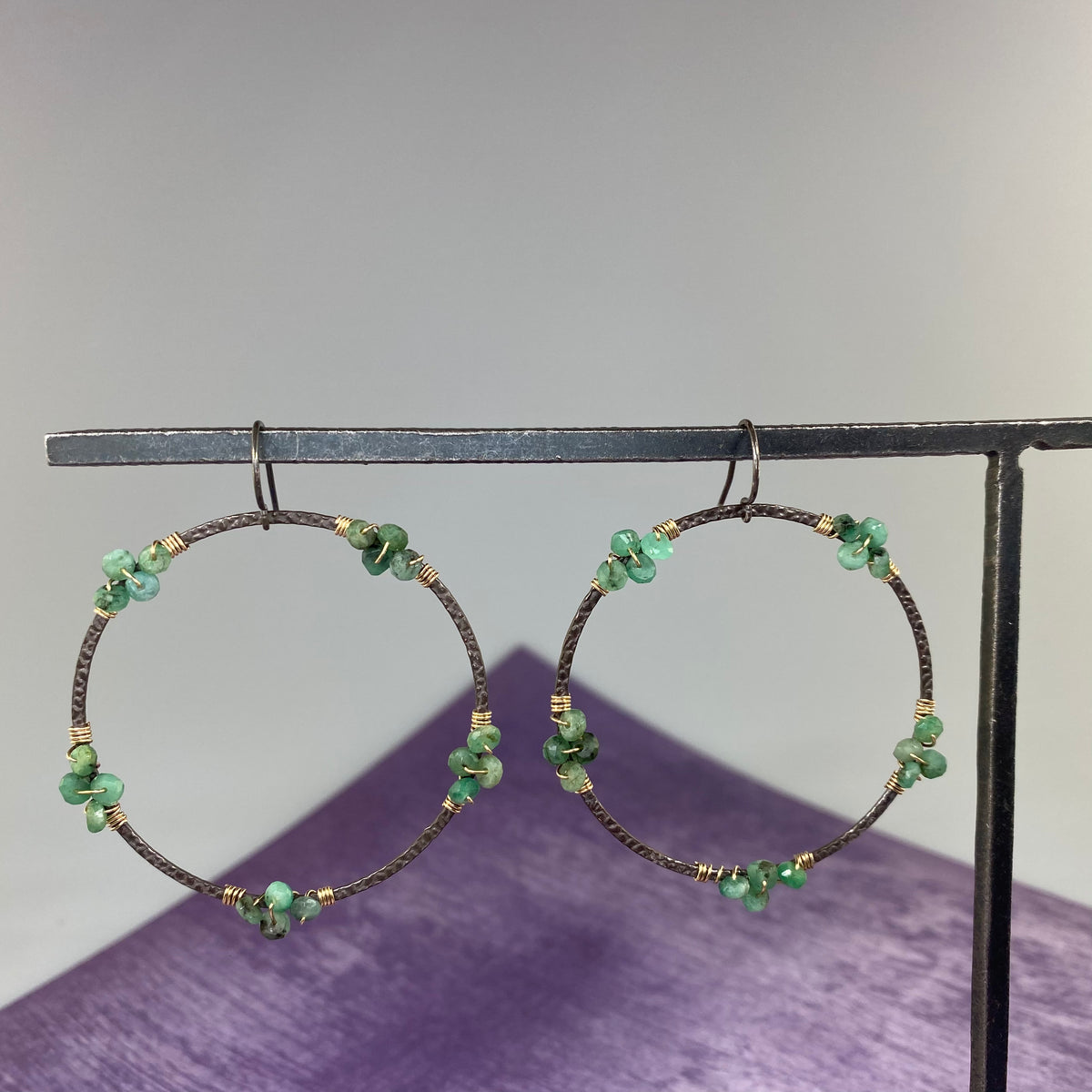 Emerald Wrapped Hoop Earrings - Heart of the Home PA