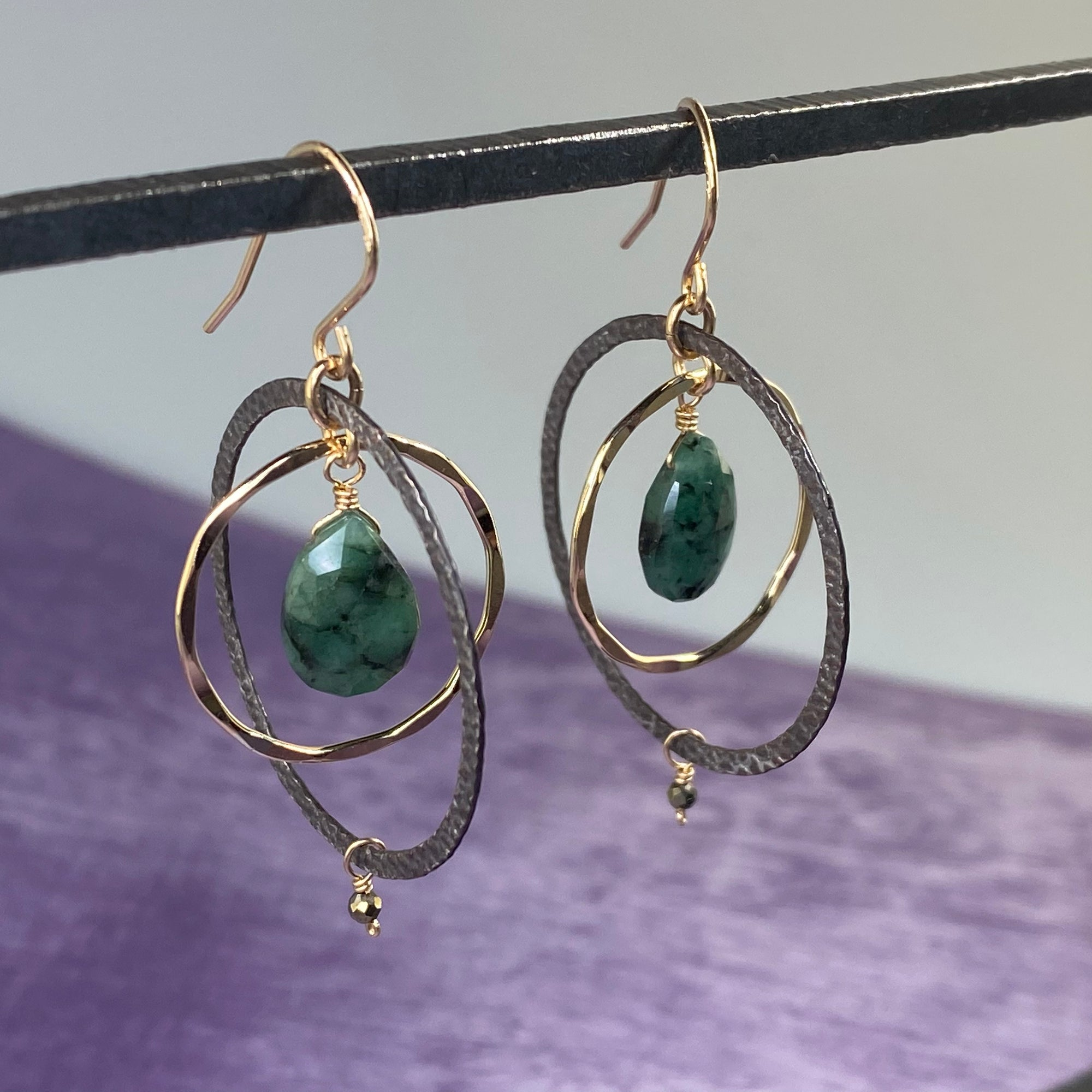 Emerald Concentric Circle Earrings - Heart of the Home PA