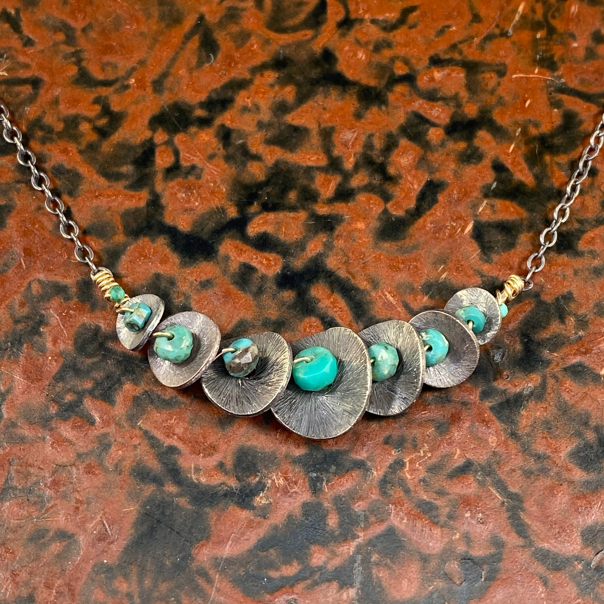 Turquoise Wrapped Bar Necklace - Heart of the Home PA