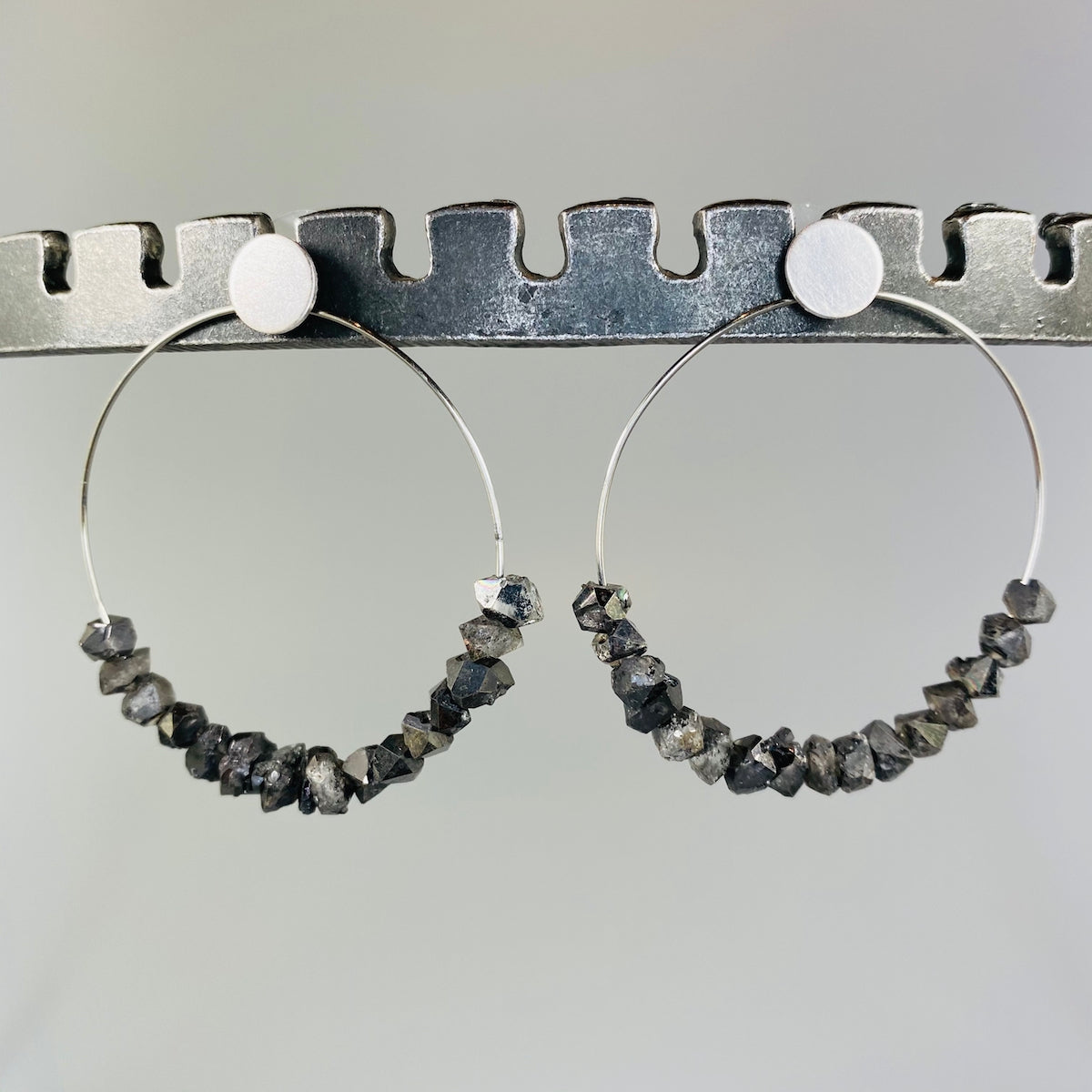 Large Circle Earrings with Herkimer Quartz - Heart of the Home PA