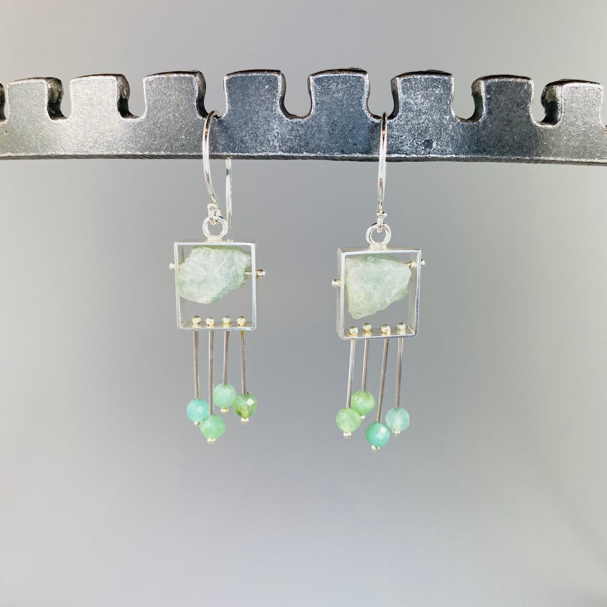 Aquamarine Earrings with Chrysoprase Fringe - Heart of the Home PA