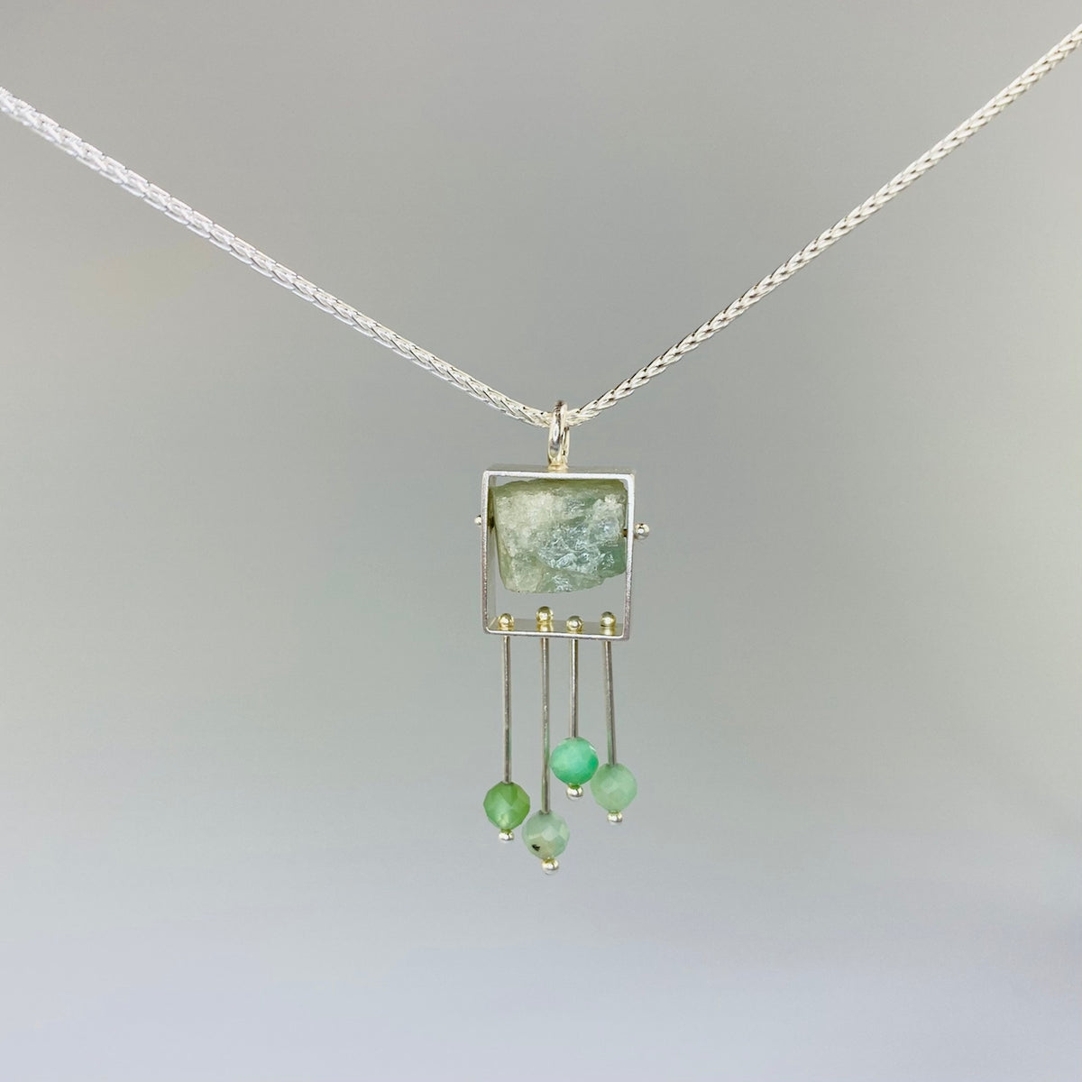 Aquamarine Pendant with Chrysoprase Fringe - Heart of the Home PA