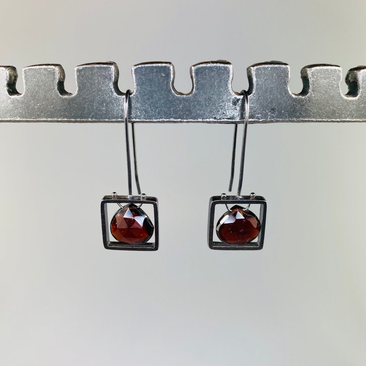 Square Frame Garnet Earrings - Heart of the Home PA