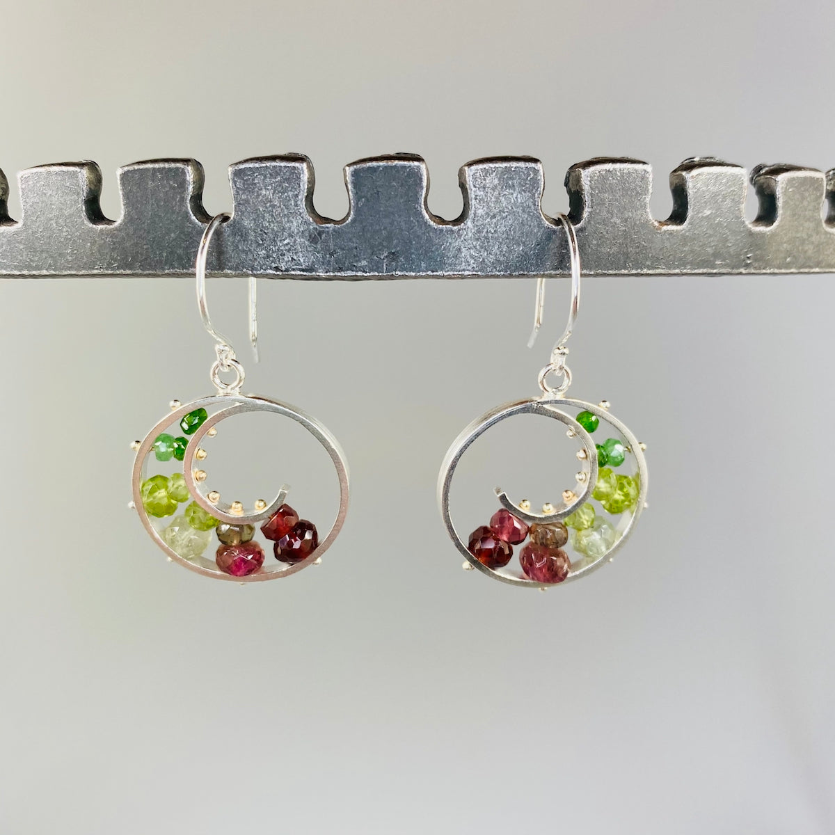 Medium Spiral Earrings in Watermelon - Heart of the Home PA