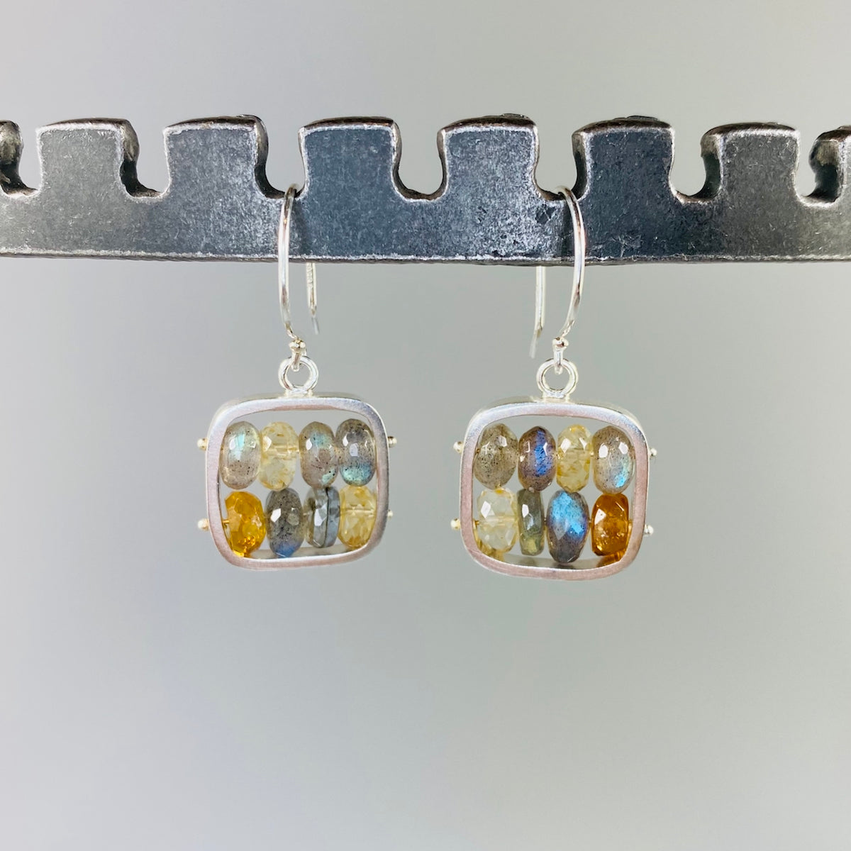 Tapestry Earrings in Labradorite & Honey - Heart of the Home PA