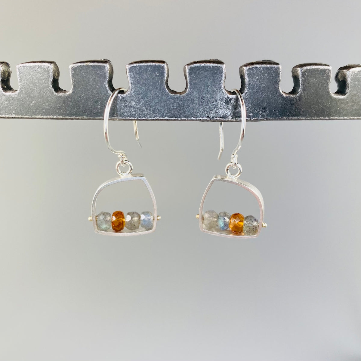 Organic Earrings in Labradorite & Honey - Heart of the Home PA