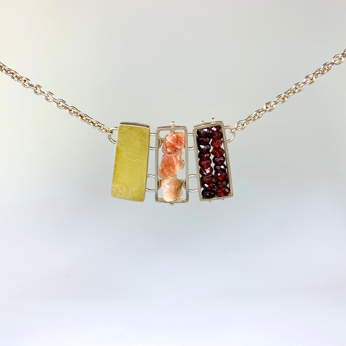 Rectangle Statement Gemstone Necklace - Heart of the Home PA