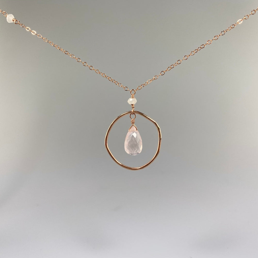 Champagne Rose Quartz Circle Pendant - Heart of the Home PA