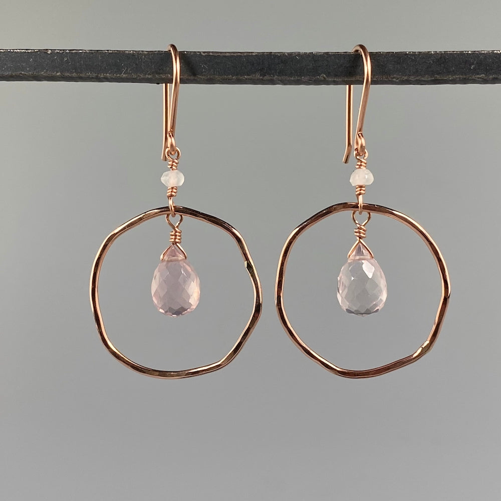 Champagne Rose Quartz Circle Earrings - Heart of the Home PA