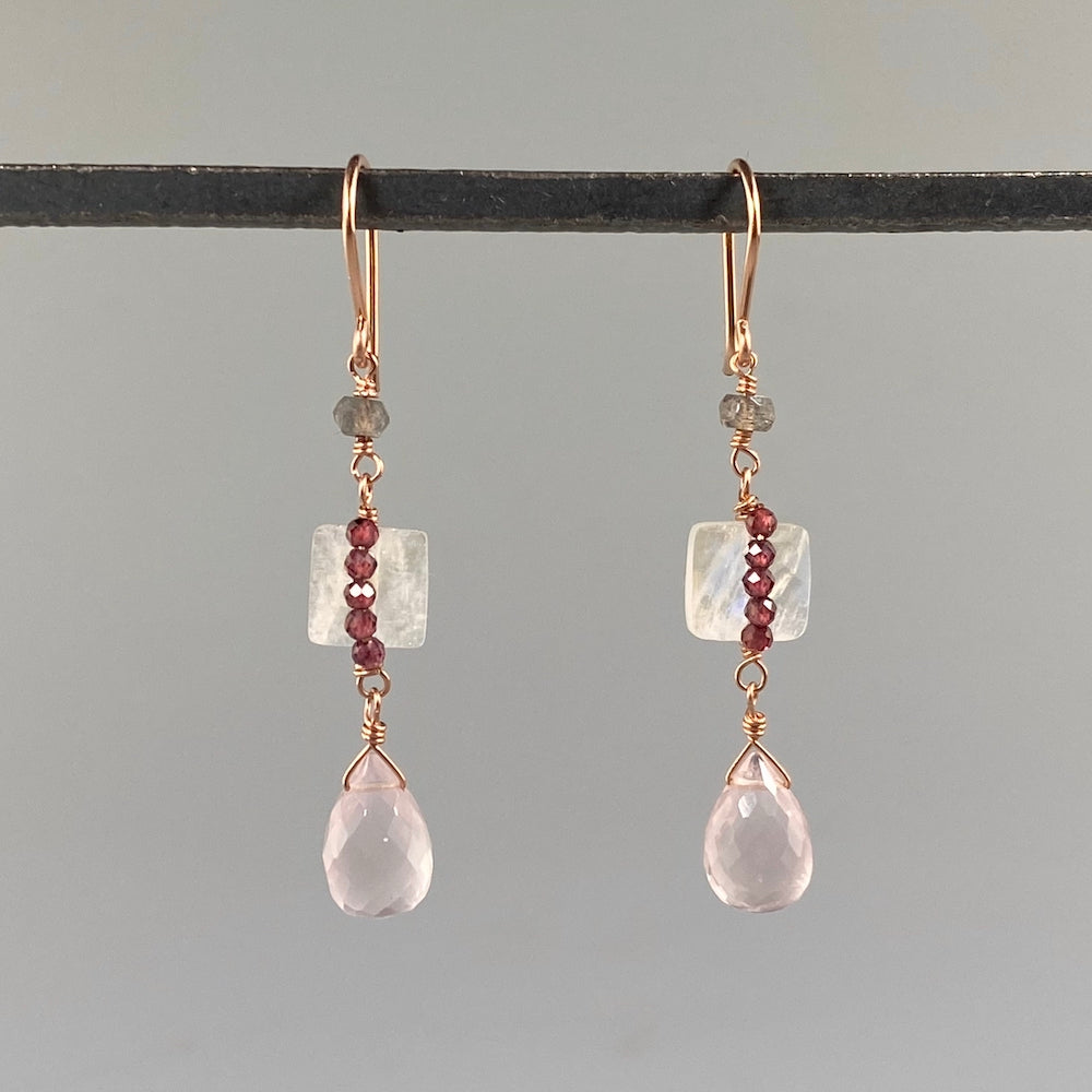Champagne Rose & Garnet Earrings - Heart of the Home PA