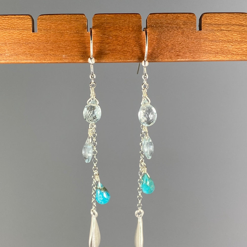 Blue Gemstone Drop Earrings - Heart of the Home PA
