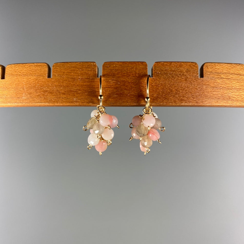 Pink Opal Ombre Cluster Earrings - Heart of the Home PA