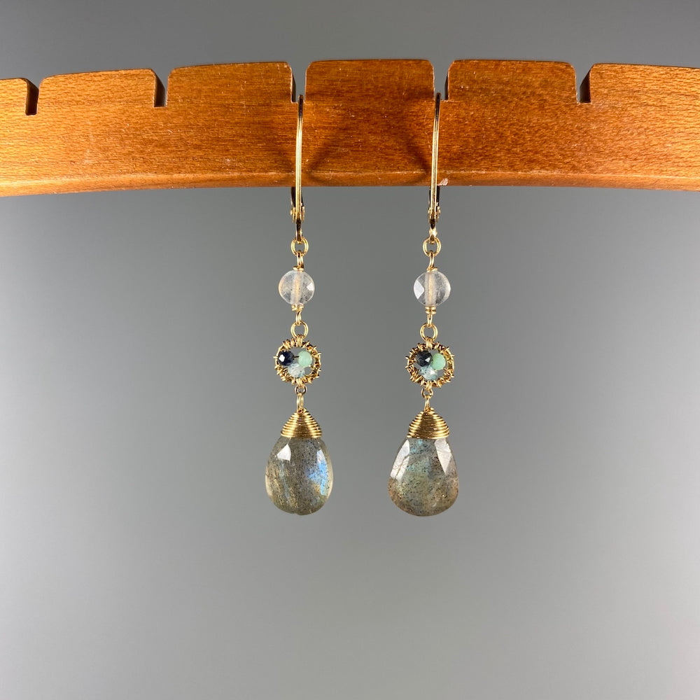 Labradorite Drop and Dot Earrings - Heart of the Home PA