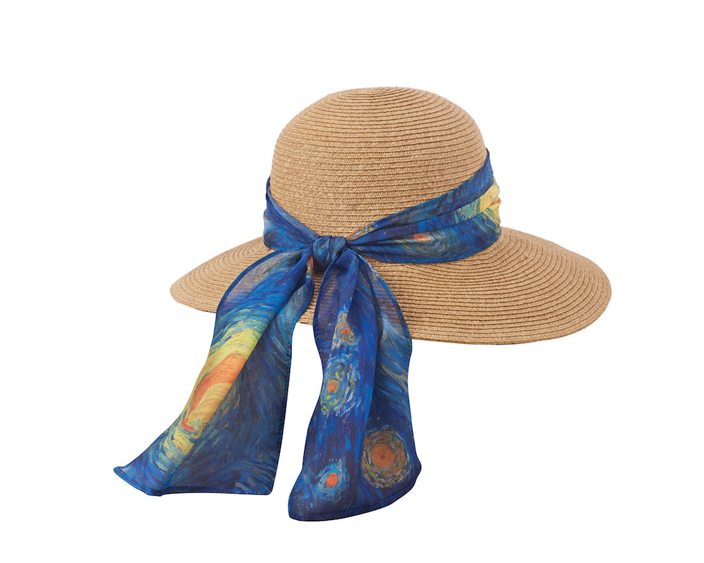 Art Scarf Sun Hat in Starry Night - Heart of the Home PA