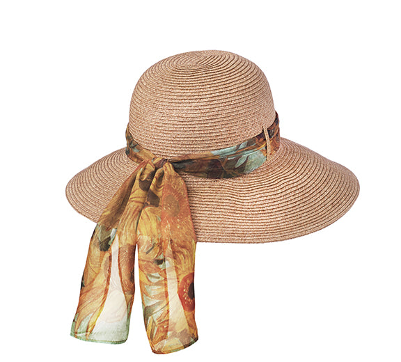 Art Scarf Sun Hat in Sunflowers - Heart of the Home PA