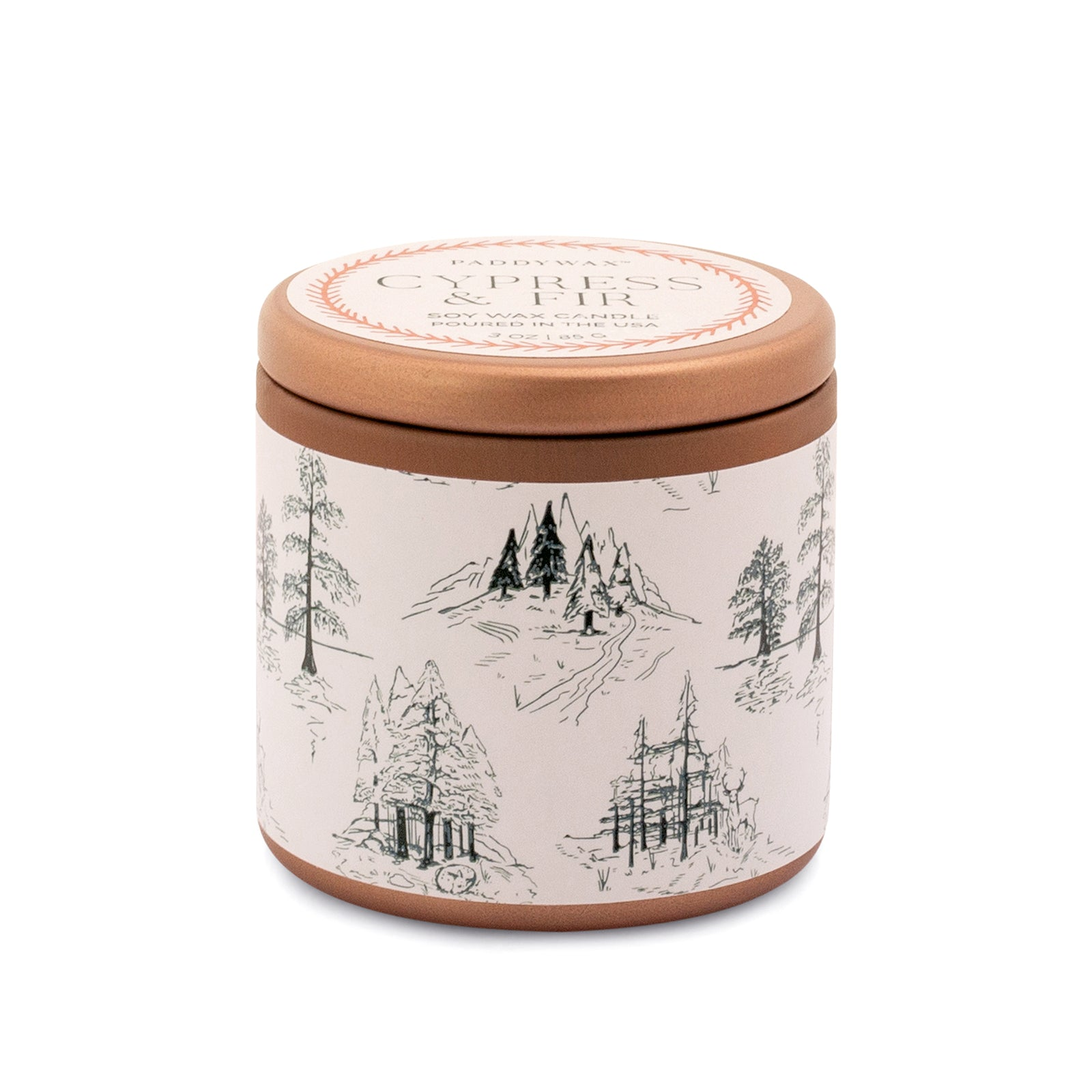 Cypress & Fir - Candle Tin with White Label - Heart of the Home PA