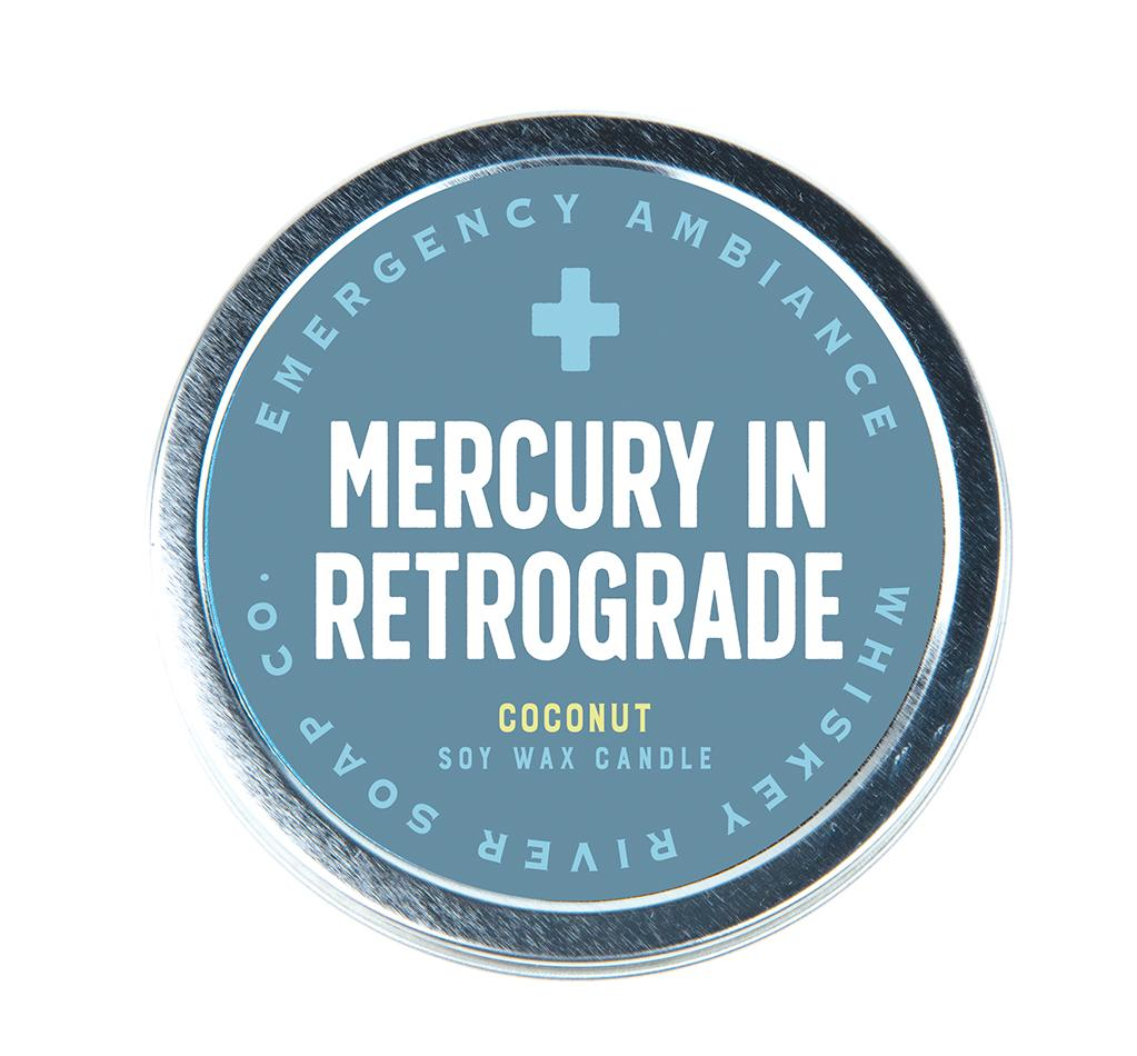 Emergency Ambiance - Mercury Retrograde Travel Tin Candle - Heart of the Home PA