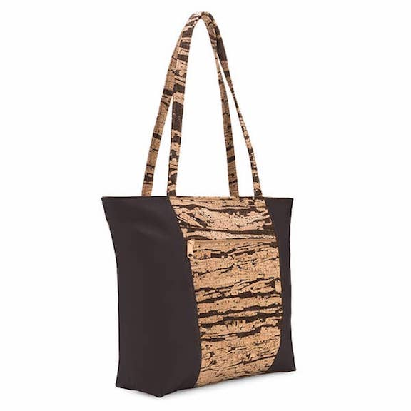 Basic 2 Cork Tote Bag in Bark Pattern - Heart of the Home PA