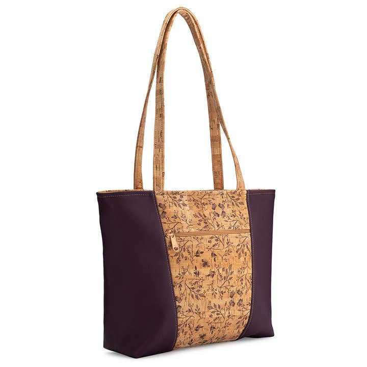 Basic 2 Tote Bag in Wine Floral Print - Heart of the Home PA