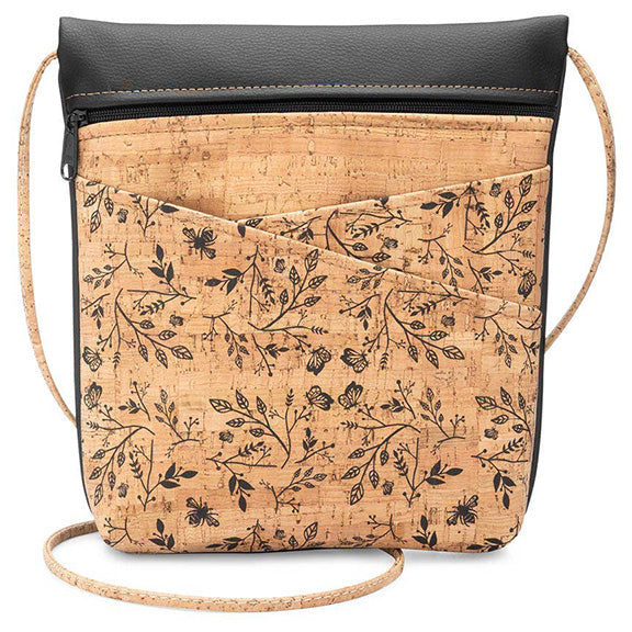 Lively Criss Cross Pocket Cork Bag in Black Print - Heart of the Home PA