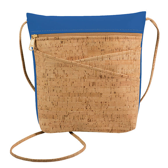 Lively Criss Cross Pocket Cork Bag with Royal Blue - Heart of the Home PA