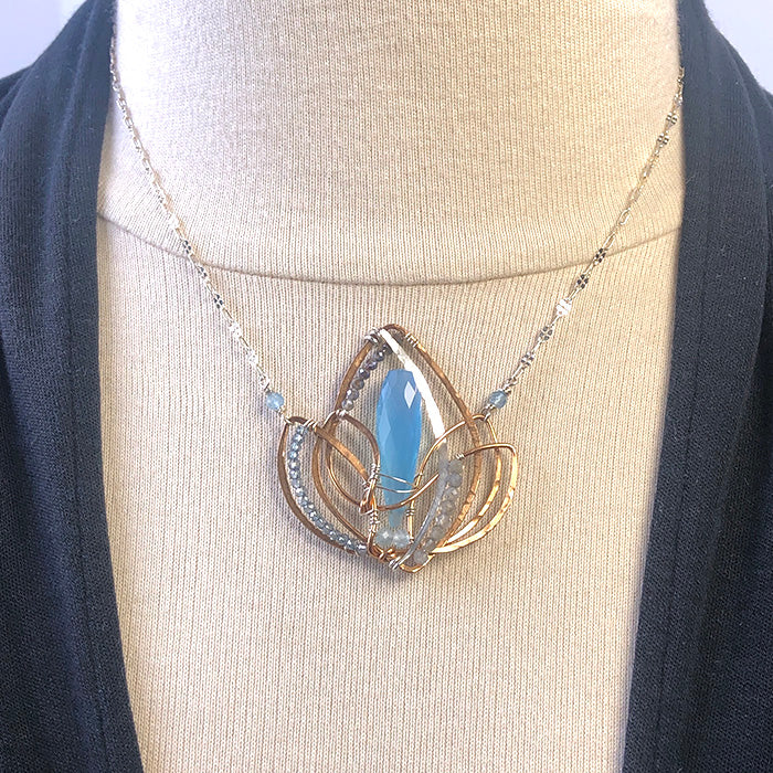 Blue Lotus Woven Necklace